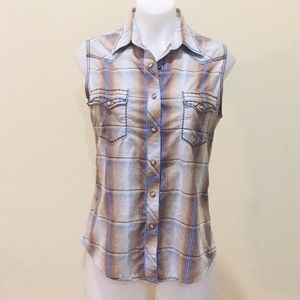 Brooks & Dunn brown& blue country western wear top